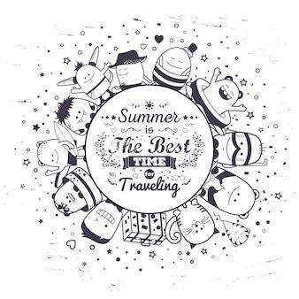 Sommeraufbau mit lustigen monstern und typografiebeschriftung. gezeichnete charaktere der karikatur schwarzweiss-hand. reihe von bunten ungewöhnlichen kreaturen