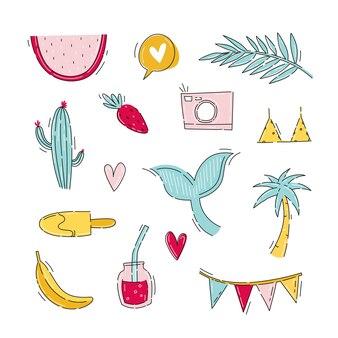 Sommeraufkleber mit reiseelementen im flachen handgezeichneten stil