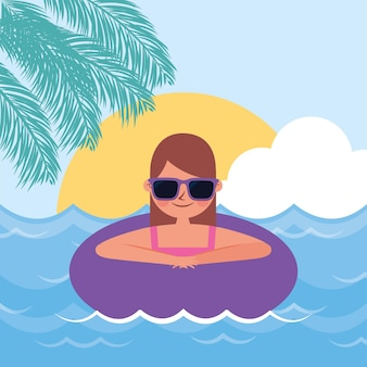 Sommerbanner mit frau in den strand gleiten