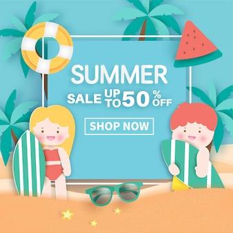 Sommerbanner mit sommerelementen im papierschnittstil