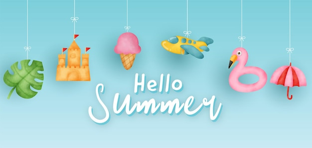 Sommerbanner mit sommerelementen