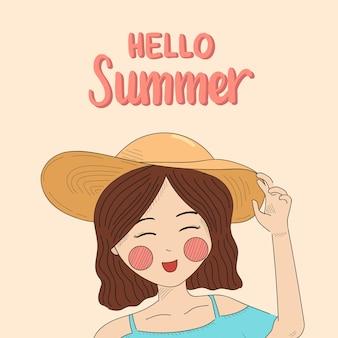 Sommerbanner mit süßem mädchen, das hallo sommer sagt