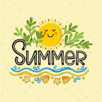 Sommerbeschriftung auf sand mit smiley-sonne