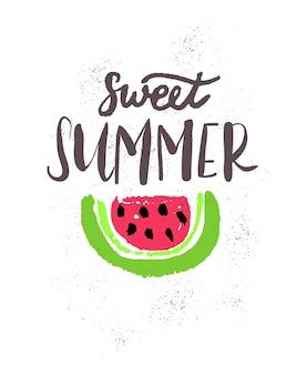 Sommerbeschriftung helle sätze über den sommer, die sonne und den urlaub