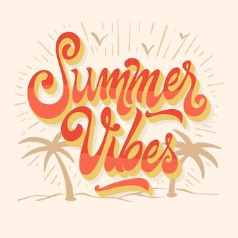 Sommerbeschriftung mit palmen Kostenlosen Vektoren
