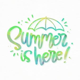 Sommerbeschriftung mit regenschirm