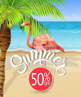 Sommerbeschriftung mit seestrand und palme und flamingo. sommerangebot