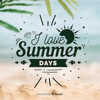 Sommerbeschriftungshintergrund mit bild