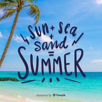 Sommerbeschriftungshintergrund mit foto