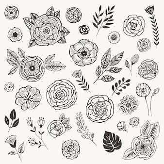 Sommerblumen gekritzel eingestellt