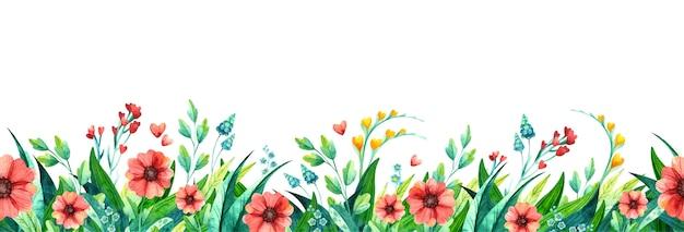 Sommerblumen verlassen aquarell horizontalen hintergrund. saisonale pflanzen mehrfarbiges laub. blühende wildblumen, gras.