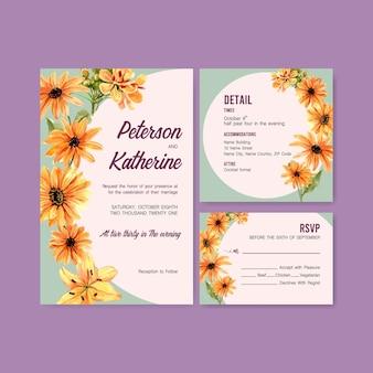 Sommerblumenkonzeptentwurf für hochzeitskartenschablonenaquarell