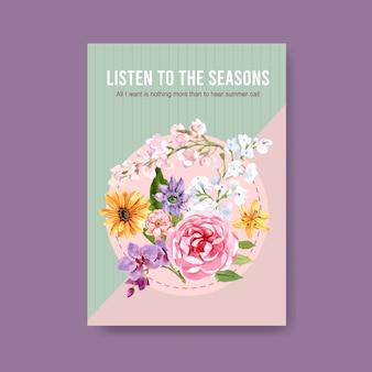 Sommerblumenplakatschablonenentwurfsaquarell