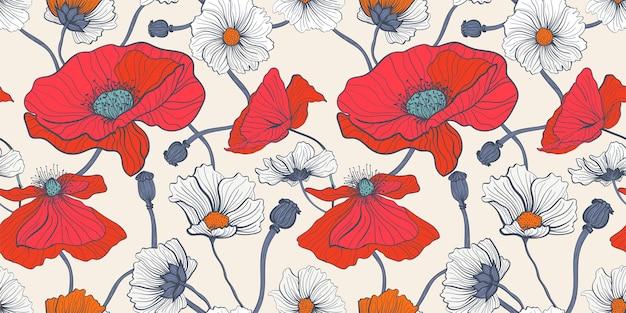 Sommerblumenwiese. nahtloses muster mit roten und weißen mohnblumen und gänseblümchen Premium Vektoren