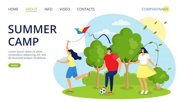 Sommercamp für leute junge mädchen gruppe im wald, illustration. junger weiblicher mann an der natur, teenagerurlaubslebensstil. teen charakter freizeit, erholung im camping park.