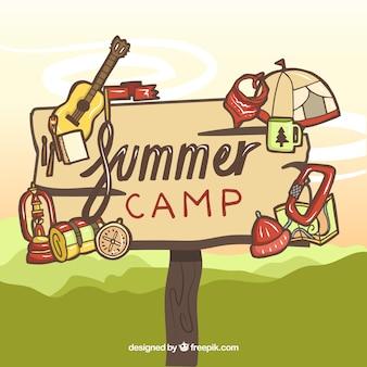 Sommercamp-hintergrund mit holzschild
