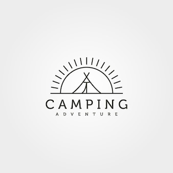 Sommercamp-linien-logo-vektor-illustration-design, zelt und sonnenuntergang minimales logo-design