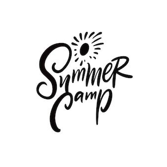 Sommercamp motivation abenteuerphrase schwarze farbbeschriftung