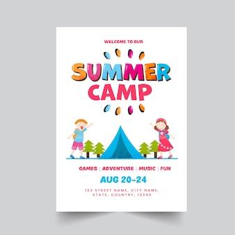 Sommercamp-poster oder template-design mit veranstaltungsdetails in weißer farbe.