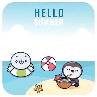Sommercharakterillustration im kawaii-stil