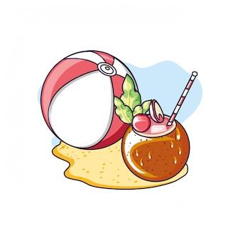Sommercocktail der kokosnuss mit ball