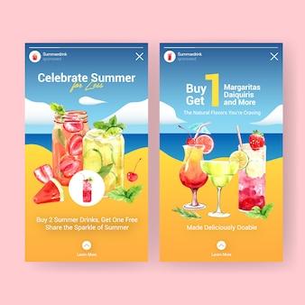 Sommercocktails für instagram-geschichtenvorlagen