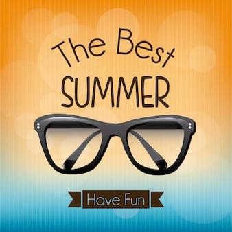 Sommerdesign über orange und blauem hintergrund