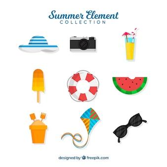 Sommerelemente sammlung in flachen stil