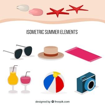 Sommerelementsammlung mit kleidung in der isometrischen art