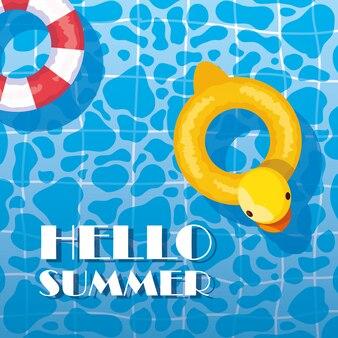 Sommerente und sicherer schwimmer