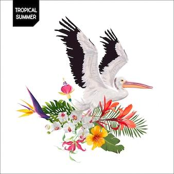 Sommerentwurf mit pelikan-vogel und blumen
