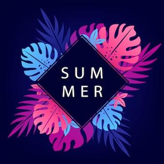 Sommerfahne mit blauem rautenrahmen.