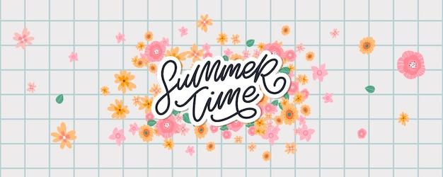 Sommerfahne mit blumenbuchstaben