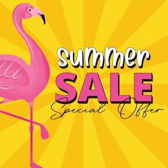 Sommerfahne mit flamingokarikatur. sommerschlussverkauf .vector illustration