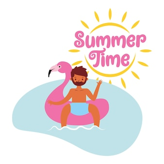 Sommerfahne mit mann auf schwimmerkarikatur .vector illustration