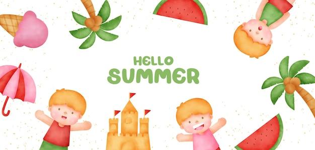 Sommerfahne mit sommerelementen im aquarellstil