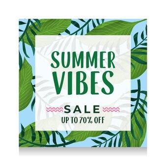 Sommerfahne mit tropischer blattillustration. sommer-vibes-verkauf