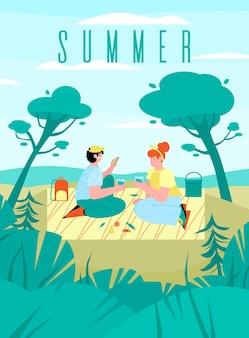 Sommerfahne oder plakatschablone mit romantischer picknick-szene am strand