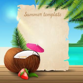 Sommerfahnenschablone in form von pergament auf dem hintergrund eines schönen meerblicks