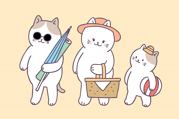 Sommerfamilien-katzenpicknick der karikatur nettes