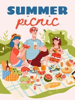 Sommerfamilienpicknick-banner oder plakatschablonenkarikatur