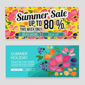 Sommerferien-aquarellblumen-fahnenillustration
