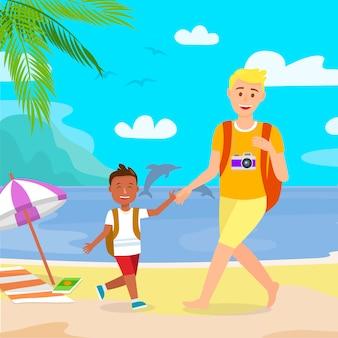 Sommerferien auf tropeninsel-flacher zeichnung