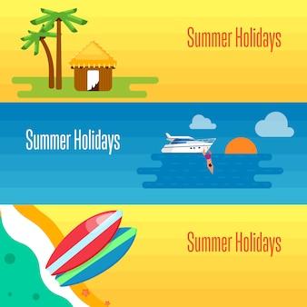 Sommerferien banner mit tropischen bungalows