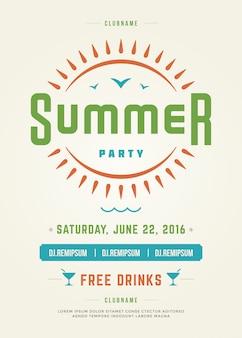 Sommerferien beach party poster oder flyer vorlage design