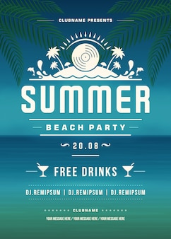 Sommerferien beach party poster oder flyer vorlage design
