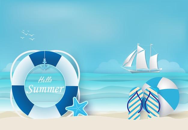 Sommerferien blauen hintergrund