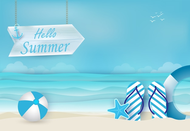 Sommerferien blauer hintergrund
