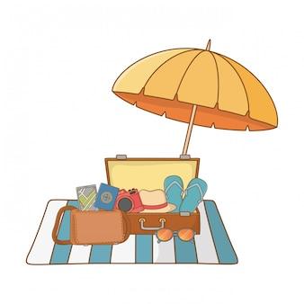 Sommerferien entspannen sich karikatur