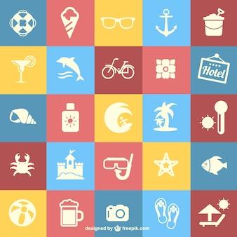 Sommerferien flach symbole